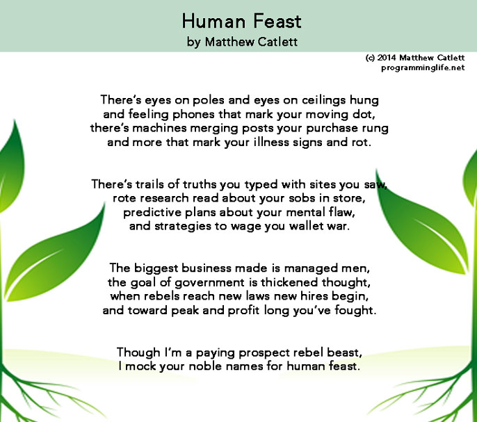 Human Feast, a poem by Matthew Catlett